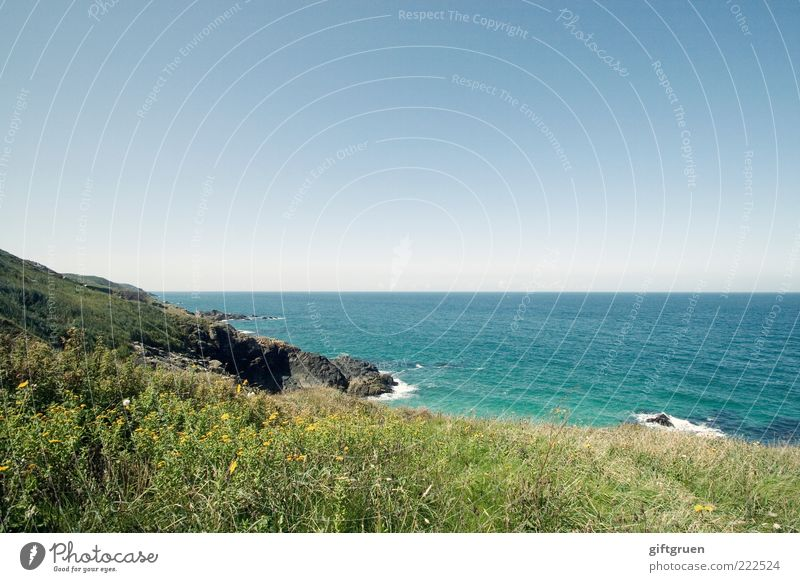 sea view Environment Nature Landscape Plant Elements Water Sky Cloudless sky Horizon Summer Climate Weather Beautiful weather Hill Rock Waves Coast Ocean Island