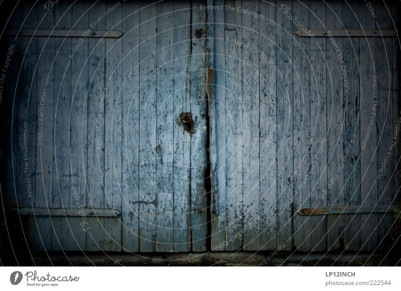 The Doors V House (Residential Structure) Hut Wood Lock Dirty Dark Trashy Blue Gray Fear Curiosity Main gate Entrance Double gates Wooden gate Old Flake off