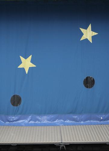 sun, moon and stars Circus Sky Stars Facade Window Metal Plastic Sign Kitsch Funny Retro Point Thorny Blue Yellow Gray Fairs & Carnivals Hollow Steel Tent