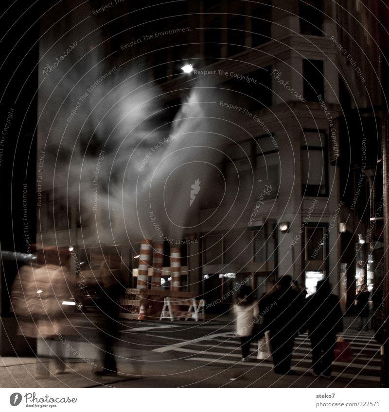 Human being City Facade Construction site Threat Exceptional Creepy Smoke Night Street lighting Mystic New York City Pedestrian Crossroads Americas Old building