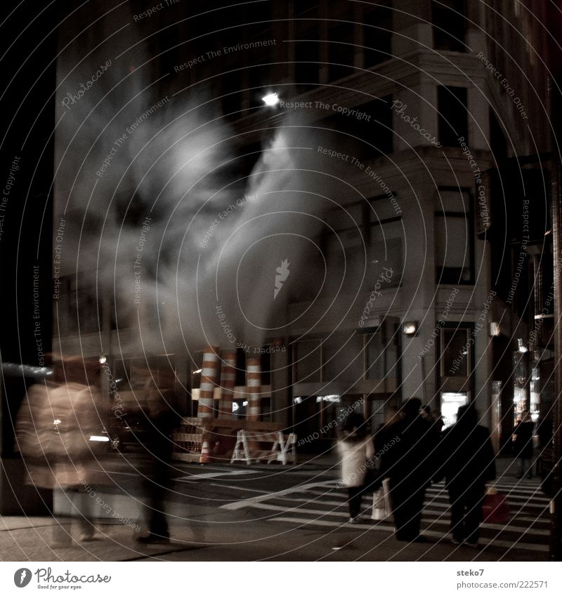 Human being City Facade Construction site Threat Exceptional Creepy Smoke Night Street lighting Mystic New York City Pedestrian Crossroads Americas Old building