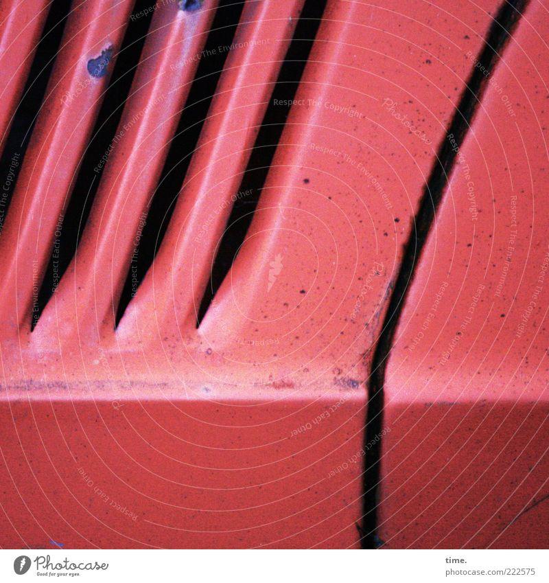 Old Red Car Metal Broken Decoration Rust Diagonal Column Motor vehicle Horizontal Disk Slit Ventilation Car body