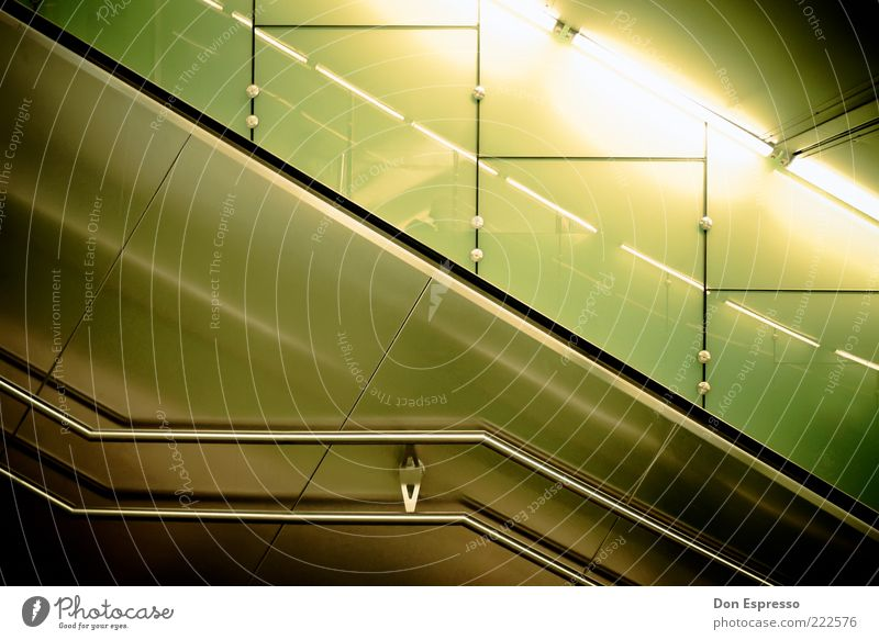 Metal Glittering Stairs Design Modern Handrail Under Diagonal Banister Tunnel Escalator High-grade steel Abstract Fluorescent Lights Fluorescent substance Modern architecture