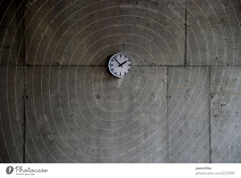 Photographed at 13:53 p.m. Concrete Gray Modest Boredom Apocalyptic sentiment Break Precision Surrealism Symmetry Transience Time Clock Concrete wall Middle