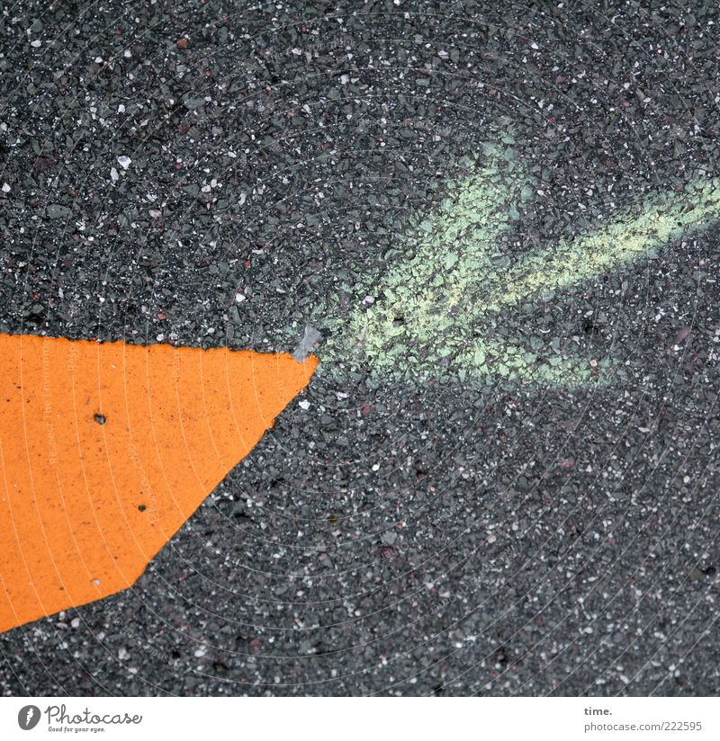 Orange Signs and labeling Information Asphalt Point Arrow Pavement Difference Chalk Strike Tar Objective Clue Encounter Function