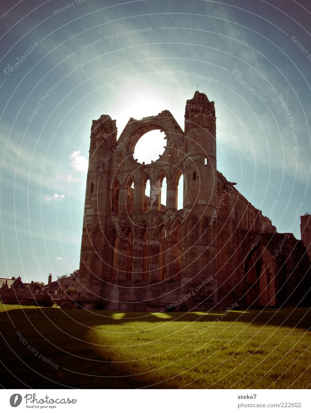 Sky Old Sun Meadow Large Tall Church Transience Decline Past Ruin Arch Window arch Cathedral Scotland Massive