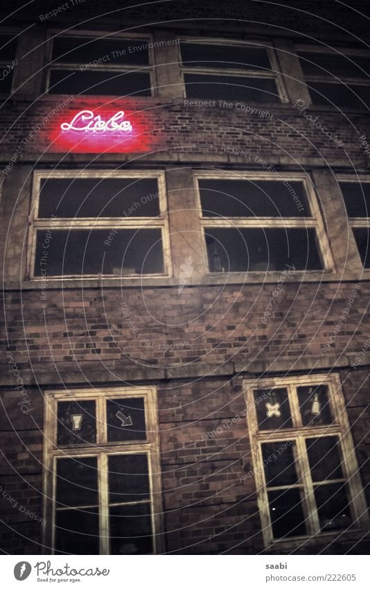 Old Love House (Residential Structure) Dark Window Dirty Characters Ruin Neon light Uninhabited Neon sign Window transom and mullion Brick facade