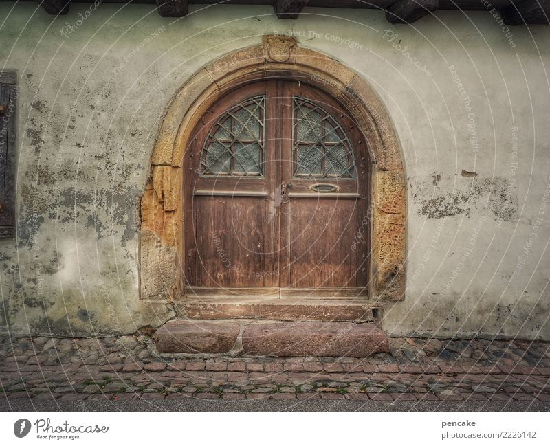 The last door Old town Architecture Wall (barrier) Wall (building) Door Historic Front door Alsace Decline Past Stairs Stone Cobblestones Portal Colour photo