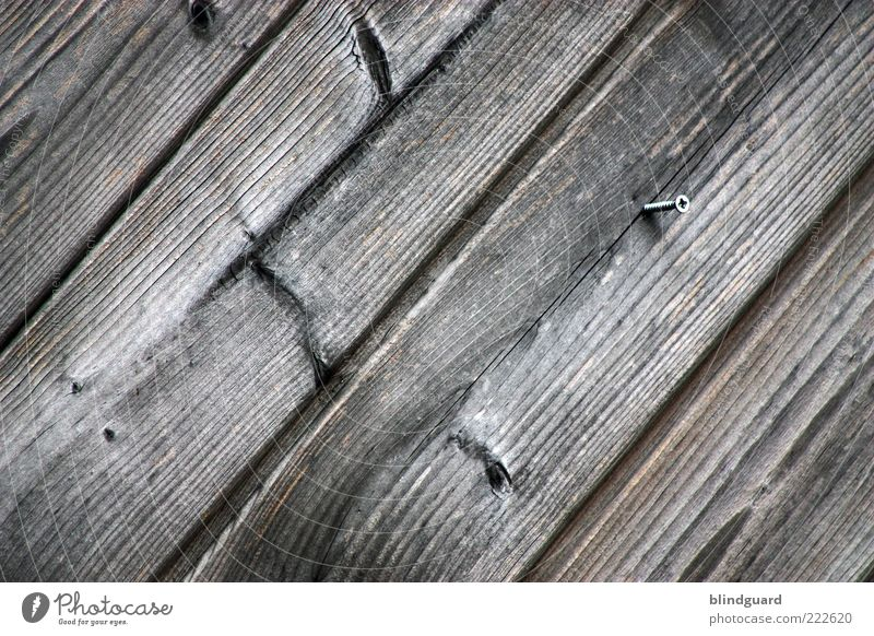 Turn The Screw Wood Brown Black Wooden board Structures and shapes Diagonal Weathered Knothole Background picture Colour photo Exterior shot Deserted Wood grain