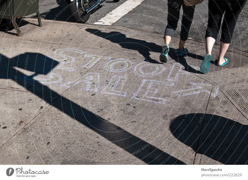 Human being City Black Feminine Gray Feet Legs Going Shopping Characters To go for a walk Arrow Sidewalk New York City Pedestrian Chalk