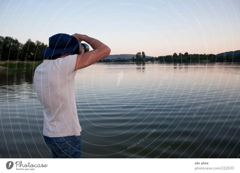 Human being Man Nature Sky Water Youth (Young adults) Tree Summer Calm Landscape Lake Adults Photography Contentment Horizon Masculine