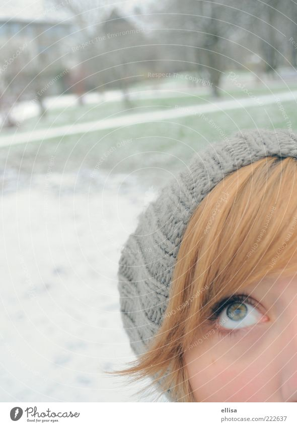 Youth (Young adults) White Green Winter Eyes Snow Feminine Gray Hair and hairstyles Park Think Observe Woman Upward Anticipation Partially visible