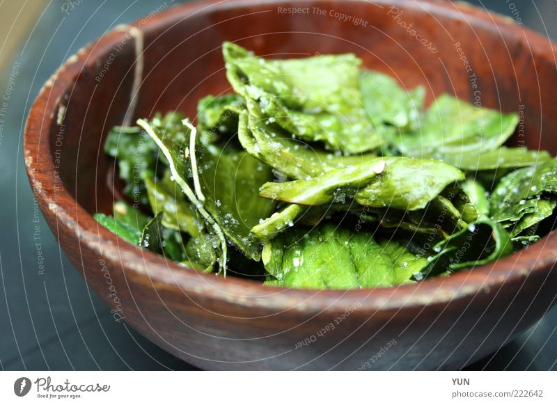 Candied seaweed in South Korea Food Lettuce Salad Nutrition Lunch Vegetarian diet Asian Food Seaweed Bowl Wood Exotic Healthy Brown Green Culinary Colour photo