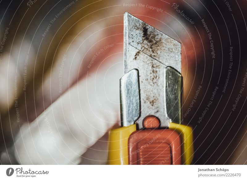 Blade of the cutter knife I Tool Point Responsibility Dangerous Cutter Knife break Harm Risk of injury Sharp thing Colour photo Close-up Detail