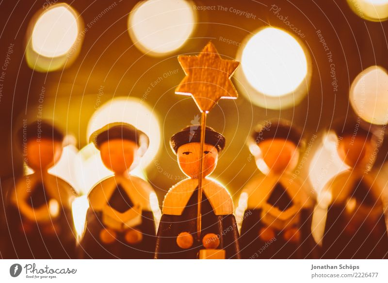 Christmas & Advent Warmth Moody Bright Illuminate Decoration Star (Symbol) Hope Tradition Figure Self-made Pensive Singer Warm light Erz Mountains Graven