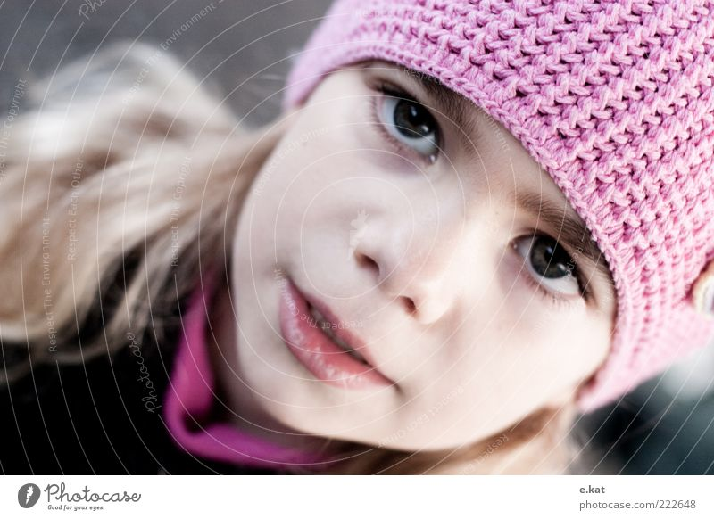Human being Child Girl Beautiful Face Pink Infancy Cap Earnest Partially visible Childlike Girlish Face of a child 3 - 8 years