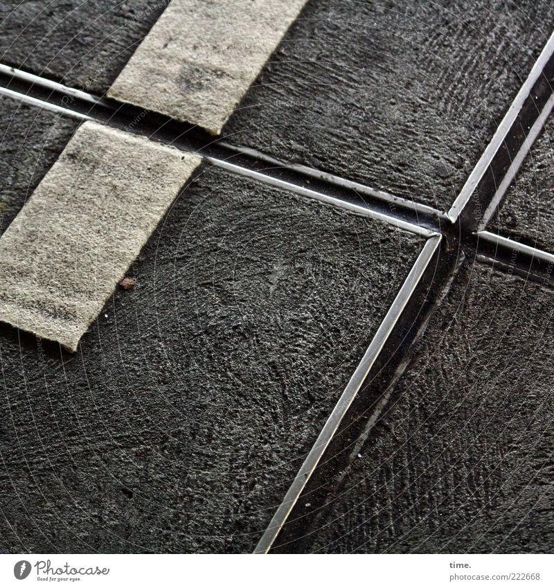 White Black Dirty Concrete Corner Floor covering Asphalt Sign Crucifix Diagonal Go up Parking garage Varnish Full Paving tiles Imprint