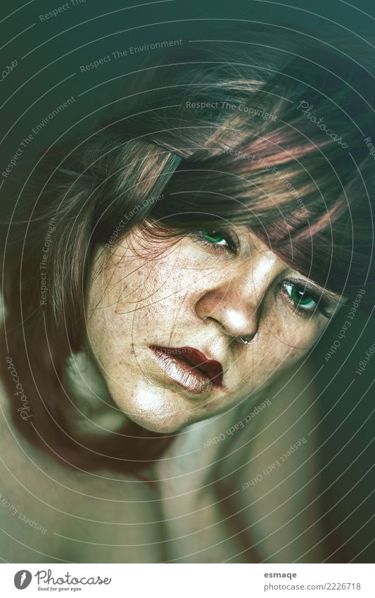 Portrait woman Design Cosmetics Human being Feminine Young woman Youth (Young adults) Authentic Emotions Protection Caution Serene Humble Aggression Poverty