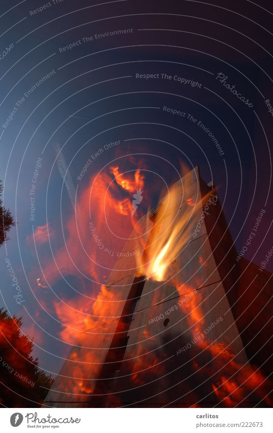 Warmth Bright Concrete Energy High-rise Fire Hot Burn Flame Double exposure Blue sky Arch Spirited Renewable