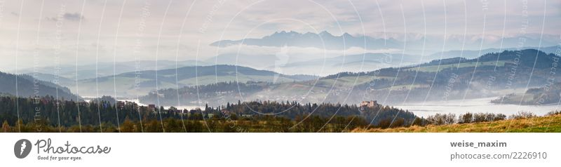 Beautiful autumn foggy morning panorama. Tatra mountains Nature Vacation & Travel Blue Summer Green Landscape Clouds Far-off places Forest Mountain Autumn