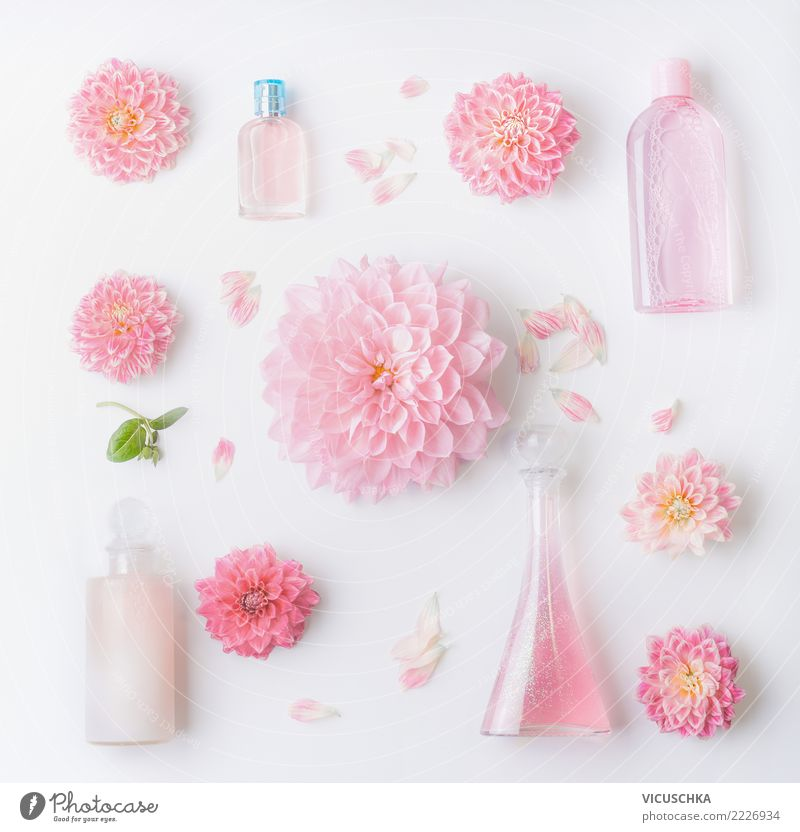 Plant Beautiful White Flower Healthy Feminine Style Pink Design Decoration Elegant Shopping Personal hygiene Cosmetics Bottle Conceptual design