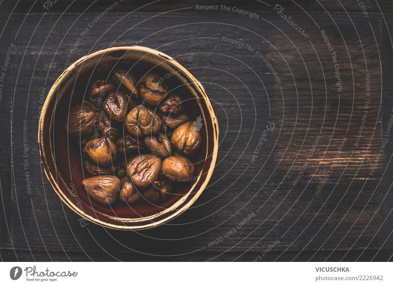 Chestnuts peeled in bowl and roasted Food Dessert Organic produce Vegetarian diet Diet Style Design Healthy Eating Life Warmth Background picture Gourmet Molt
