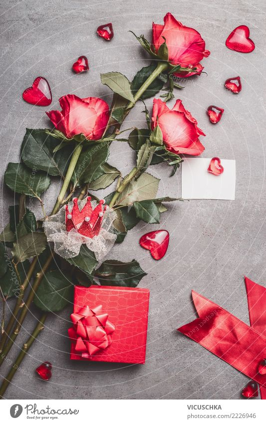Valentine's Day Composing with Roses and Hearts Style Design Decoration Feasts & Celebrations Flower Leaf Blossom Bouquet Sign Love Tradition