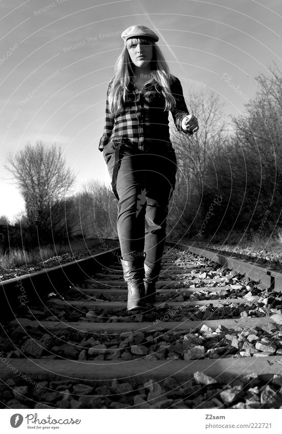 Youth (Young adults) Feminine Style Landscape Adults Blonde Fashion Going Lifestyle Esthetic Retro Cool (slang) Woman Railroad tracks Pants