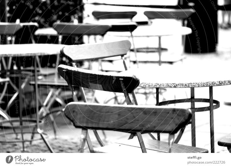 Loneliness Empty Table Chair Gastronomy Café Restaurant Terrace Section of image Black & white photo Going out Sidewalk café Off-Season Emotions Outdoor furniture