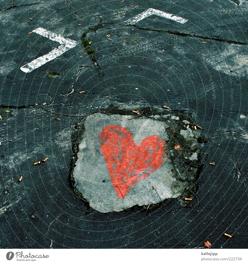 Love Heart Concrete Parking lot Valentine's Day Sincere Street art Places Street painting Warmest congratulations