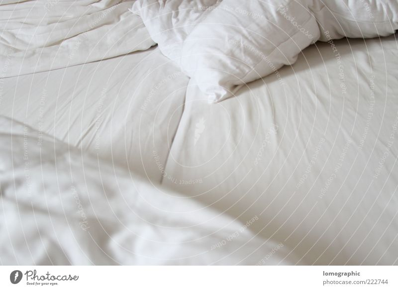 sleepless Contentment Relaxation Bed Bedroom Lie Cuddly White Emotions Moody Duvet Sheet Mattress Colour photo Subdued colour Interior shot Deserted