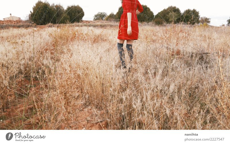 Young woman in a field of dry plants Human being Nature Youth (Young adults) Summer Beautiful Landscape Tree Red Joy 18 - 30 years Adults Environment Lifestyle
