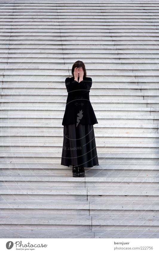 Woman Human being Hand Adults Feminine Emotions Stone Moody Fashion Fear Stairs Exceptional Stand Uniqueness Cloth 18 - 30 years