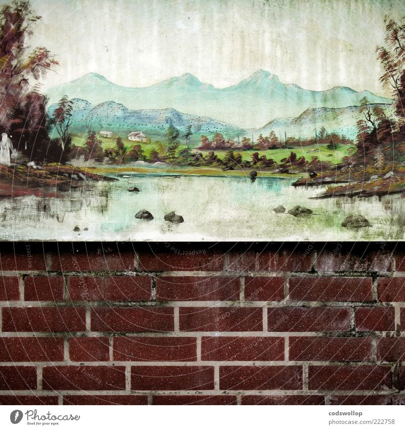 Old Mountain Garden Landscape Lake Lifestyle Esthetic Hope Change Transience Image Idyll Brick Decline Painting and drawing (object) Stone