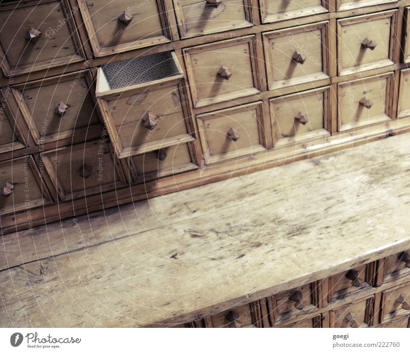 cubed Cupboard Drawer Door handle Wood Old Sharp-edged Historic Trashy Brown Arrangement Orderliness Rack Undo Rectangle Colour photo Interior shot