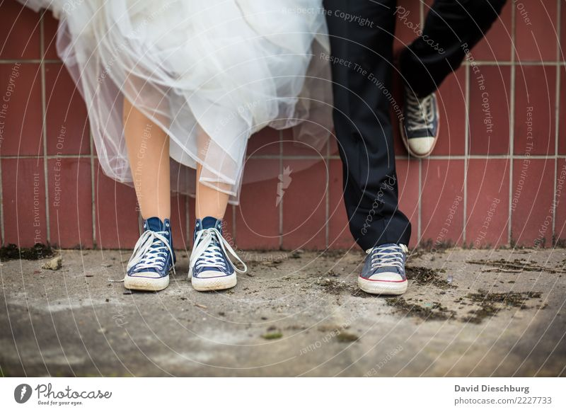 Human being Legs Wall (building) Love Feminine Style Couple Together Masculine Footwear Stand Wait Romance Ground Wedding Safety