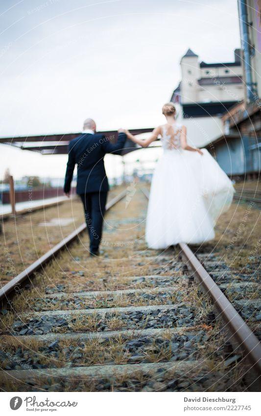 together Wedding Masculine Feminine Woman Adults Man Couple Partner 2 Human being Rail transport Train travel Railroad tracks Happy Trust Safety