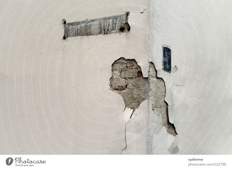 House (Residential Structure) Wall (building) Gray Wall (barrier) Signs and labeling Facade Corner Broken Transience Uniqueness Decline Whimsical Plaster Anonymous Fiasco Breakage