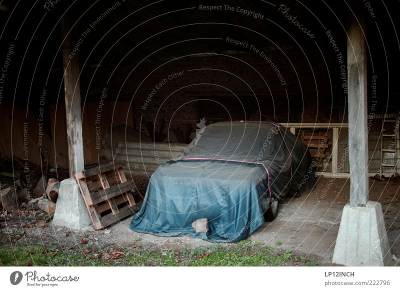 Well-covered dreams. Vehicle Car Vintage car Dirty Mysterious Calm Stagnating Barn Youngtimer Covers (Construction) Hide Hiding place Protective cover