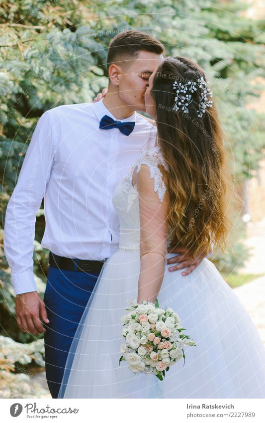 Bride and groom Wedding Couple Partner 2 Human being 18 - 30 years Youth (Young adults) Adults Flower Dress Suit Accessory Jewellery Bow tie Hair and hairstyles