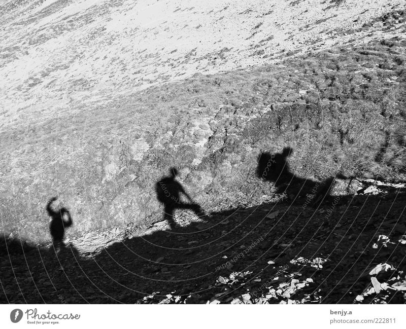 Mountaineering from Calanda Leisure and hobbies Trip Adventure Freedom Expedition Hiking Human being Masculine 3 Movement Going Attachment Black & white photo