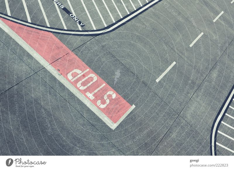 White Red Gray Signs and labeling Concrete Transport Empty Characters End Stop Airport Traffic infrastructure Bird's-eye view Hold Road sign Airfield
