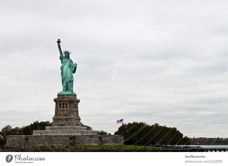 Green Vacation & Travel Freedom Gray Trip Tourism Sign Steel Manmade structures Tourist Attraction New York City Sightseeing Statue of Liberty City trip