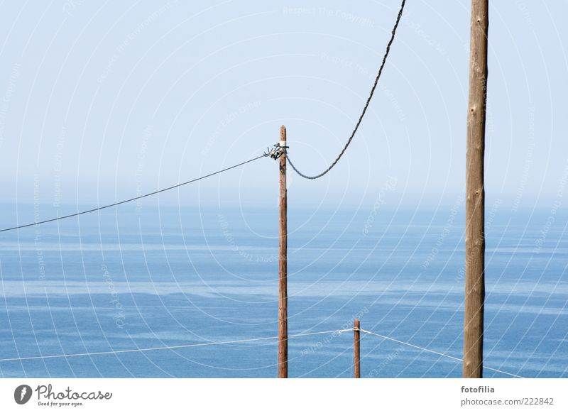 Sky Water Blue Summer Ocean Landscape Coast Brown Waves Island Cable Technology Telecommunications Beautiful weather Telegraph pole Mediterranean sea