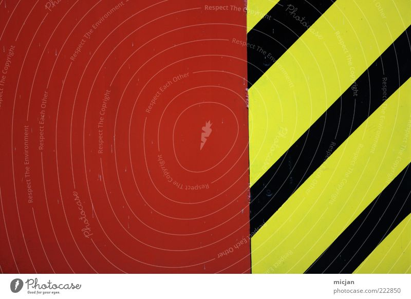 Red Black Yellow Colour Wall (barrier) Metal Line Signs and labeling Design Crazy Safety Dangerous Construction site Stripe Simple Signage