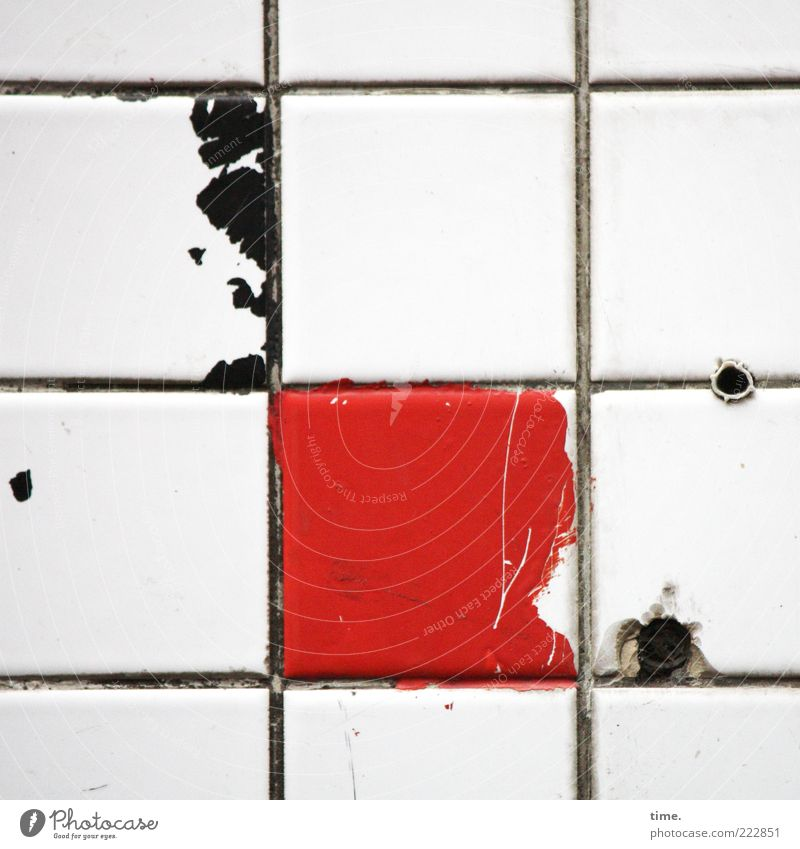 HH10.2 | Public Tile Art Crucifix Exceptional Dirty Broken Red Black Colour Corner Borehole Rawplug Dappled Parallel Vertical Horizontal Packing film Dye