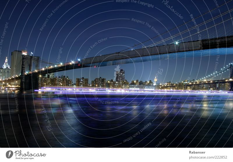 City Watercraft Transport High-rise Tall Bridge River USA Skyline Americas Manmade structures Traffic infrastructure Navigation New York City Manhattan