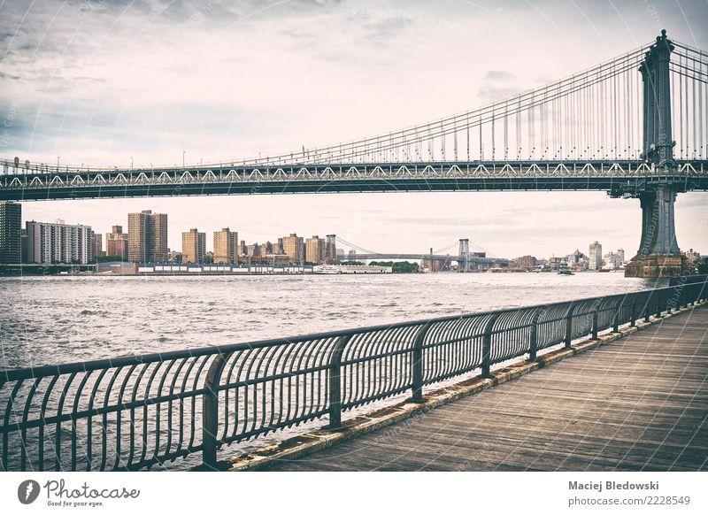 Old film stylized picture of Manhattan Bridge. River Town Building Architecture Landmark Retro Dream Sadness Homesickness Loneliness Uniqueness Logistics City