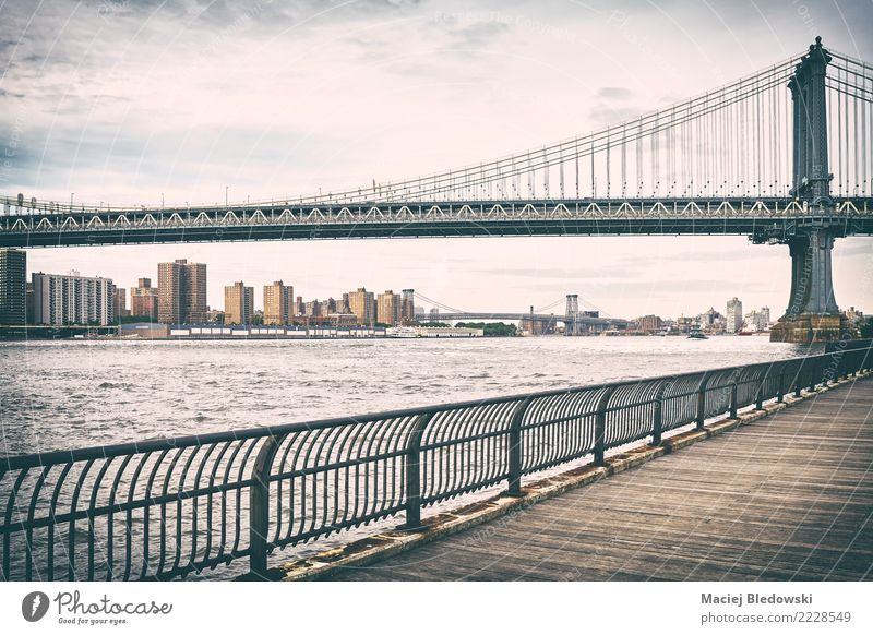 Old film stylized picture of Manhattan Bridge. Town Loneliness Architecture Sadness Building Dream Retro Vantage point USA Uniqueness River Logistics Landmark