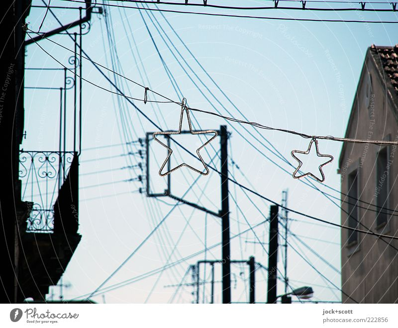 Wonder stars of yesteryear Electricity pylon Cloudless sky Summer Village Facade Balcony Window Line Pictogram Star (Symbol) Hang Year-round Many Christmas star